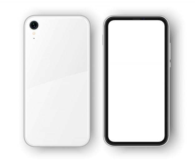 Высоко детализированный реалистичный смартфон. сотовый телефон изолирован. задняя и передняя стороны реалистичного безрамочного телефона с тенью на заднем плане.