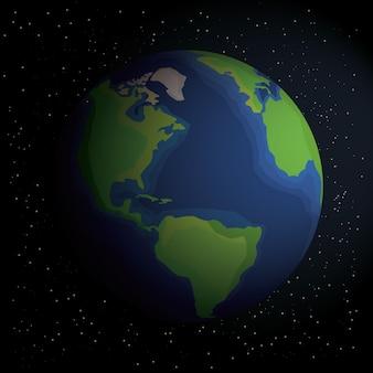 Земля в космосе. земля в космосе со звездами. земля с тенью. планета во вселенной, векторного.