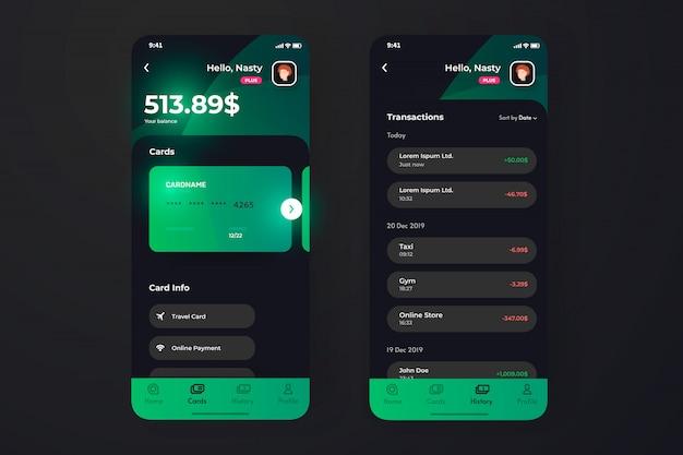 Пользовательский интерфейс приложения «финансы» со страницей транзакции, информацией о владельце кредитной карты.