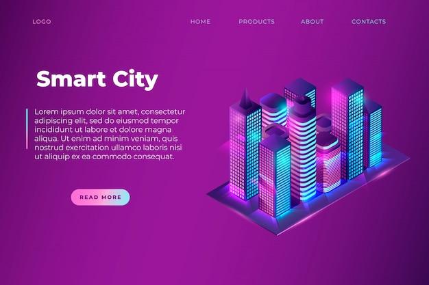 スマートシティのテキストと等尺性のネオンナイトシティ、スマートな建物のウェブサイトページテンプレート。画像ブロックとテキストブロック。ベクター