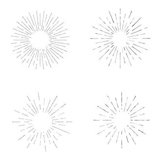 ヴィンテージレトロなサンバースト、あなたのニーズのデザインテンプレートのコレクション。ベクトル図