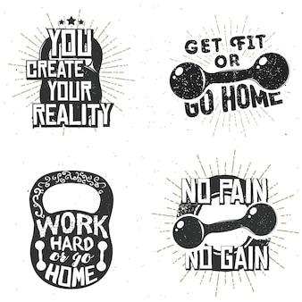 スポーツのロゴ、ジムのラベル、インスピレーションと動機付けのタイポグラフィバッジのセット