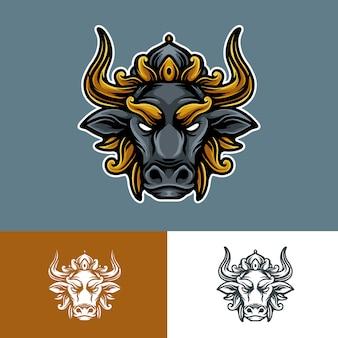 Иллюстрация логотипа талисмана короля быков