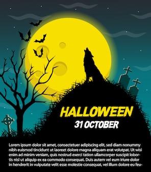 Счастливый хэллоуин векторный плакат