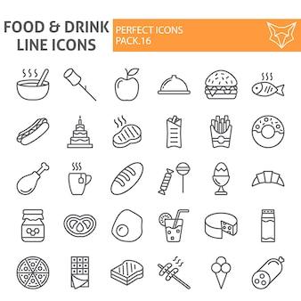 食べ物や飲み物のラインアイコンセット、食事コレクション
