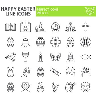 Счастливой пасхи линии значок набор, коллекция весенний праздник