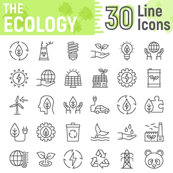 Экология линии значок набор, коллекция зеленой энергии