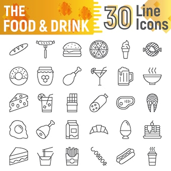 食べ物や飲み物のラインアイコンセット、食事のシンボルコレクション