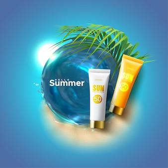 Солнцезащитная косметика упаковка рекламный плакат. лосьон для тела или крем с защитой от ультрафиолета, водоворот морской воды, пальмовые листья на фоне песчаного пляжа
