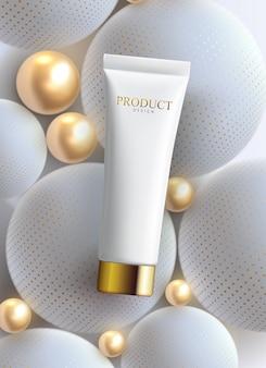 顔のアンチリンクルクリームの広告ポスターテンプレート。化粧品プレミアム商品。化粧品パッケージのモックアップデザイン。