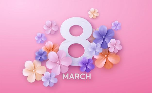 ピンクの背景に国際女性の日のロゴと丸いバナー。