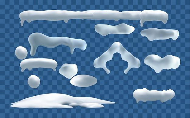 Снежные шапки. снежки и снежные заносы зимой украшают снежные элементы. рождественский мультяшный набор