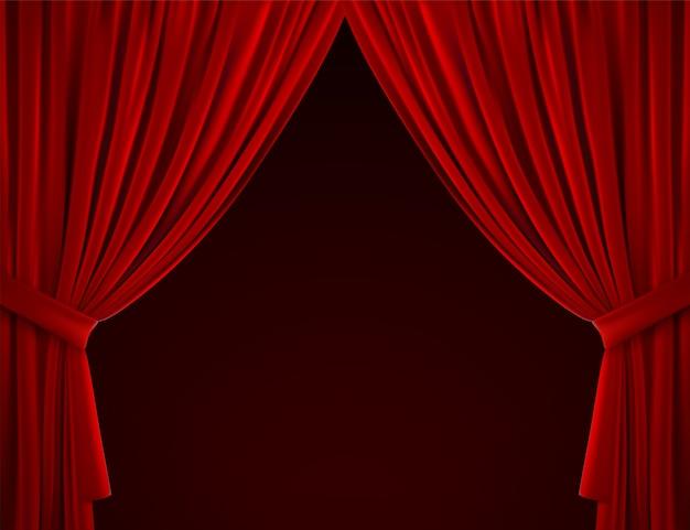 Фон красный занавес. реалистичная иллюстрация. текстильные шторы. сложенная бархатная ткань. элемент декора для дизайна.