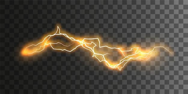 Визуальный эффект электричества. светящийся мощный энергетический разряд, изолированные на клетчатый прозрачный фон.