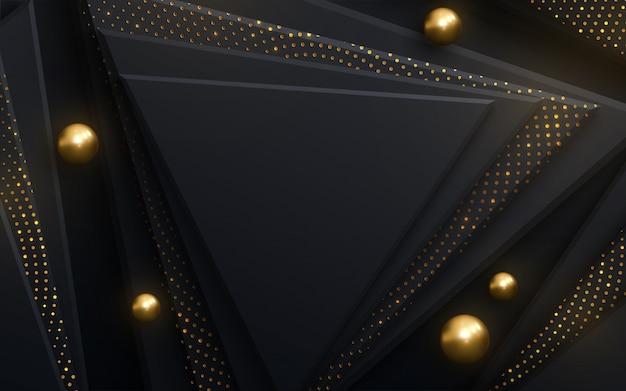 黒い正方形ときらめくキラキラパターンと抽象的な背景
