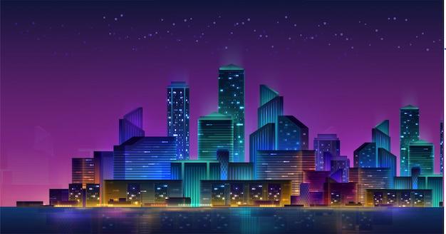未来の夜の街。明るく輝くネオンの紫と青のライトと暗い背景の街並み。サイバーパンク