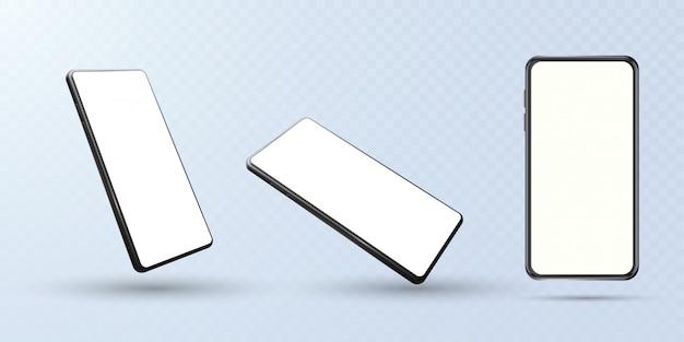 さまざまな角度から見たモックアップスマートフォンのコレクション。白い背景で隔離の携帯電話のコレクション