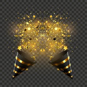 紙吹雪粒子、キラキラ、星が爆発する黒と金色のパーティーポッパー。休日のイラスト。光沢のある縞模様の紙コーン