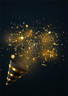 黒と白の背景に分離された紙吹雪粒子の爆発と白と金色のパーティーポッパー。
