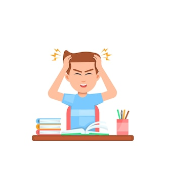 勉強中のめまいで男の子が頭を抱えている