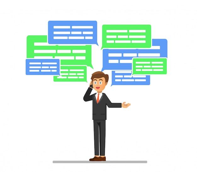 Бизнесмен занят беседами по телефону для его деловых дел.