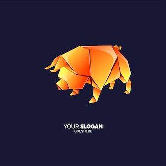 Шаблон логотипа свинья оригами