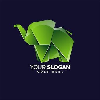 Симпатичный оригами слон логотип стиль