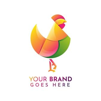 Шаблон логотипа плоский петух