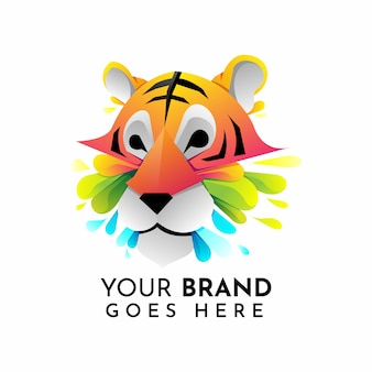 Современный шаблон логотипа тигра оригами