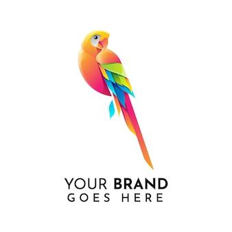 Современный шаблон логотипа попугай