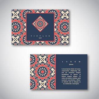 Набор визитных карточек с рисованной мандалы.