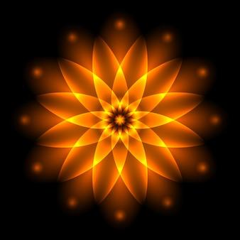 抽象的な輝く光の花、生命とエネルギー、火の象徴