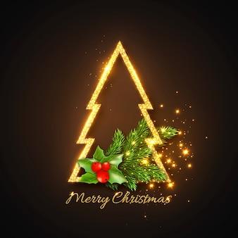 Рождество, золотая ель