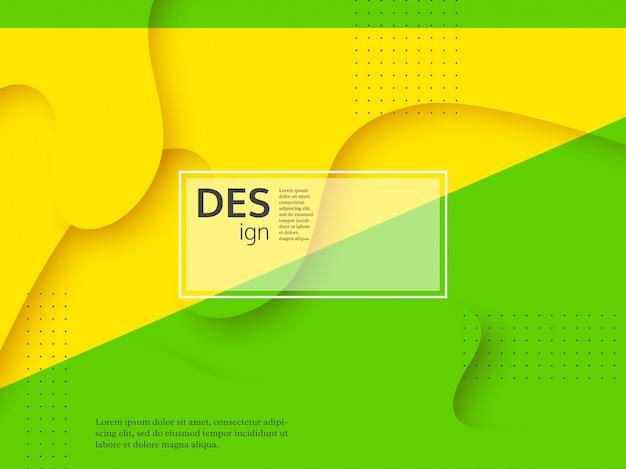 Жидкий абстрактный желтый и зеленый фон.