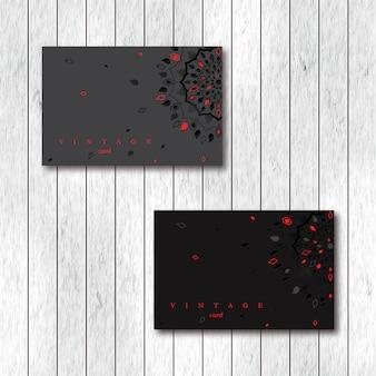 Набор из двух декоративных цветочных карт мандалы.