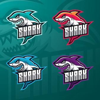 Акула киберспорт шаблон логотипа премиум