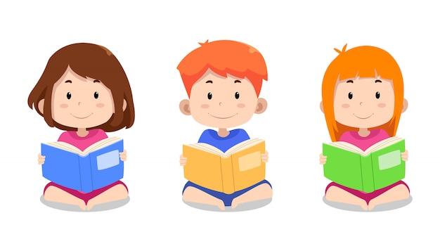 Симпатичные детские персонажи читают книгу