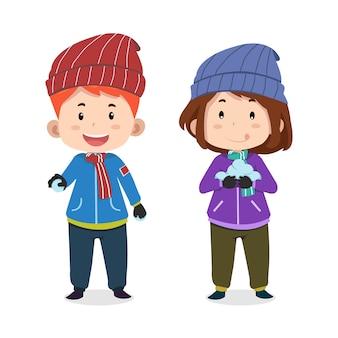 かわいい子供たちのキャラクターのスキー
