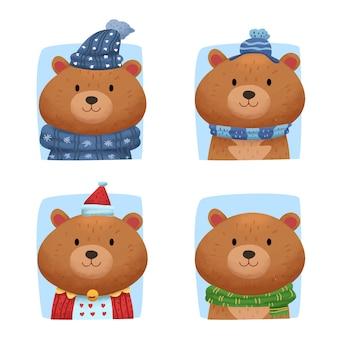 冬の服とかわいい水彩動物クマ