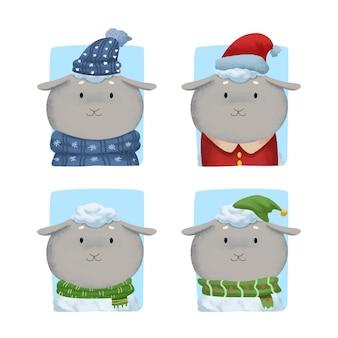 冬の服でかわいい水彩羊