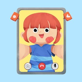 Детский видео звонок концепции иллюстрации