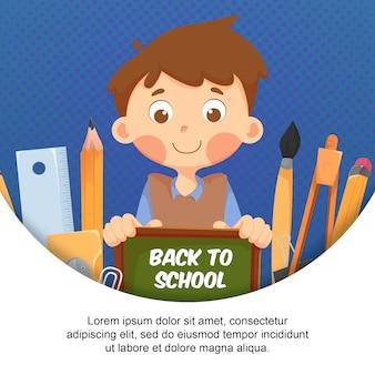 Плоский детский персонаж с элементом обратно в школу