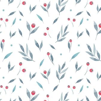 灰色の葉と白い背景の赤い果実のシームレス花柄。ベクトルイラスト