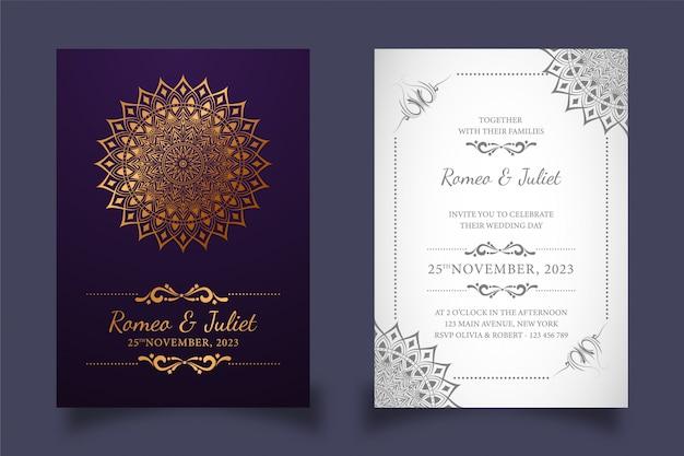 ダークとホワイトの創造的な結婚式の招待カード