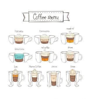 Инфографики кофейный сервиз. белый фон. американо, ирландский, вена, раф, бреве, глас, мид раф, капучино, бледно-белый, латте