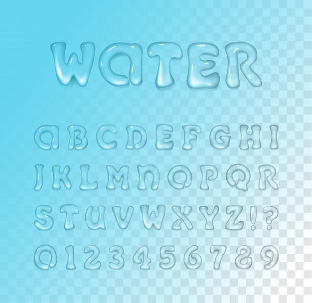 Вода / гель шрифт на синем прозрачном фоне. гарнитура. глянцевые буквы