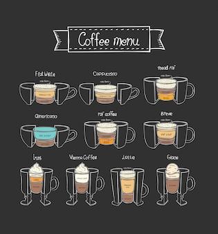 コーヒーメニュー。さまざまな種類の温かい飲み物。