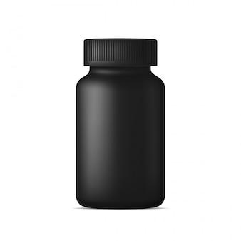 Реалистичная бутылка с таблетками. черный пластиковый контейнер для лекарств. спорт, здоровье и пищевые добавки. макет шаблона.
