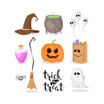 ハロウィーンの標識のセット:カボチャ、大釜、幽霊、ポーション、スパイダー、魔女の帽子などの白い背景で隔離