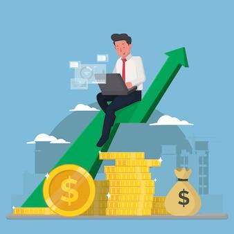 ビジネスマンはコインの山に座って利益を分析します
